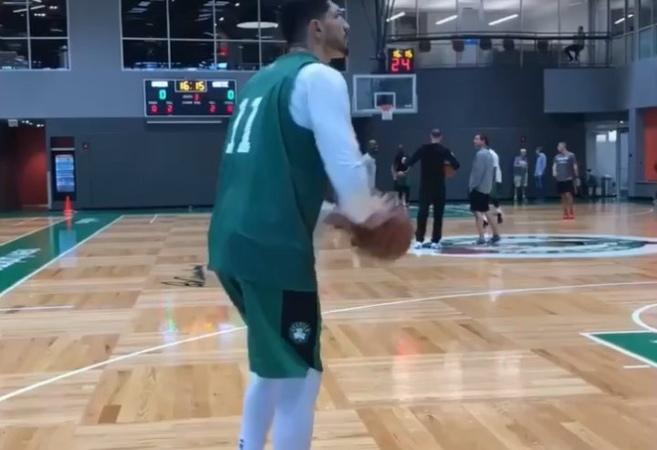 "Celtics Everyday on Instagram ""Enes Kanter works post-practice on his shot from midrange on the baseline. CELTICS"""