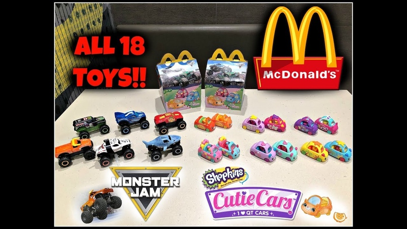 MCDONALDS Monster Jam Shopkins Cutie Cars Happy Meal Toys Jan 2019 ALL 18 Toys