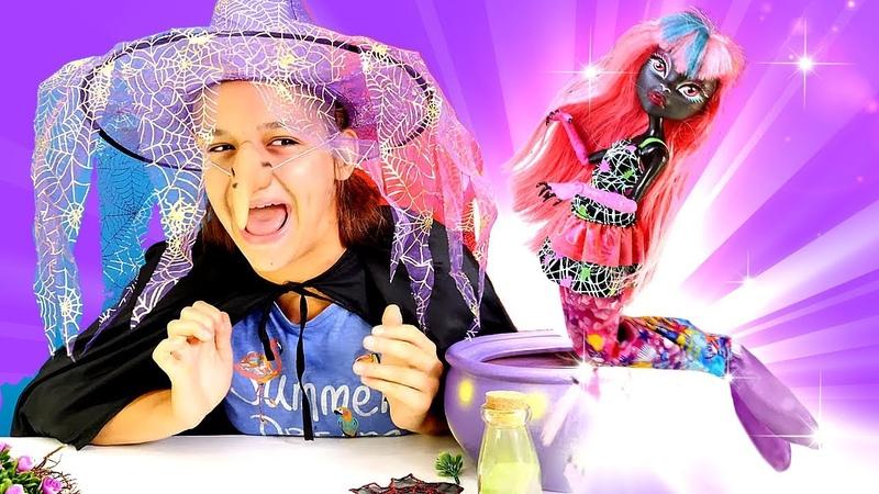 Caty Noire denizkızı olmak istiyor. Sihir videosu. Monster High oyuncak.