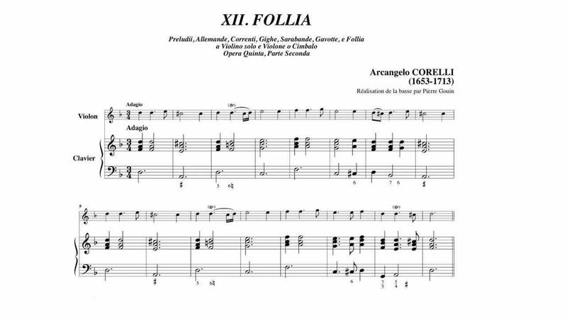 Arcangelo Corelli Sonate Op.5 n°12 La Follia, suivi de partition