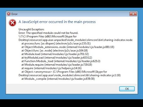 Skype Исправляем ошибку A JavaScript error occurred in the main process Windows 10 2