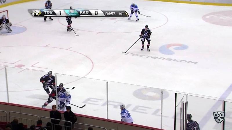 Моменты из матчей КХЛ сезона 17 18 19 • Гол 1 1 Жайлауов Талгат Барыс сравнивает счет матча 11 10