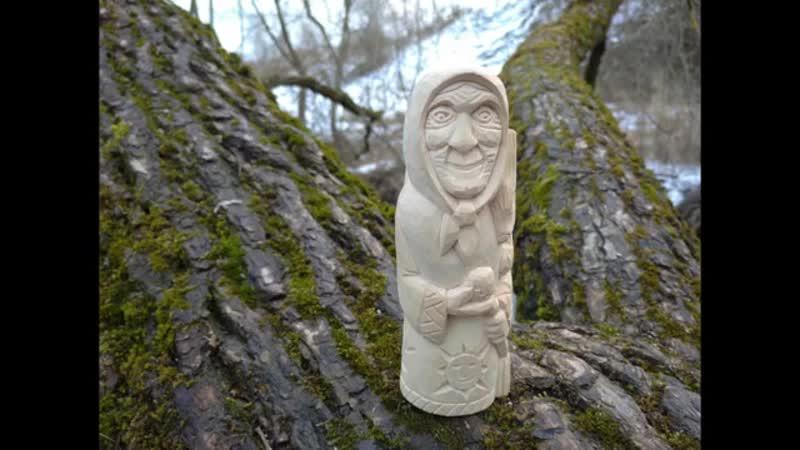 Баба Яга с белкой и Домовой с фонарем Этапы резьбы фигурок Stages of carving figures from wood