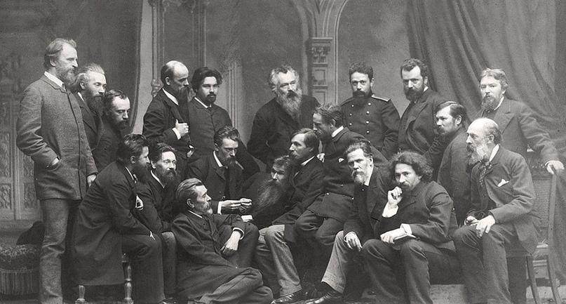 Группа членов Товарищества передвижных художественных выставок (1886 г.).