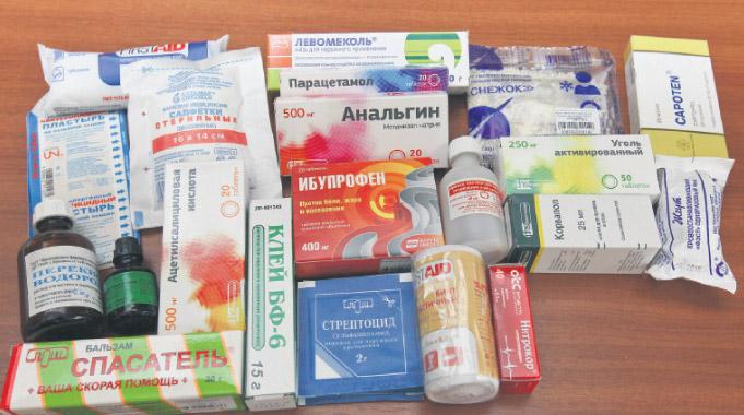 Аптечка может содержать самые разные средства первой помощи.
