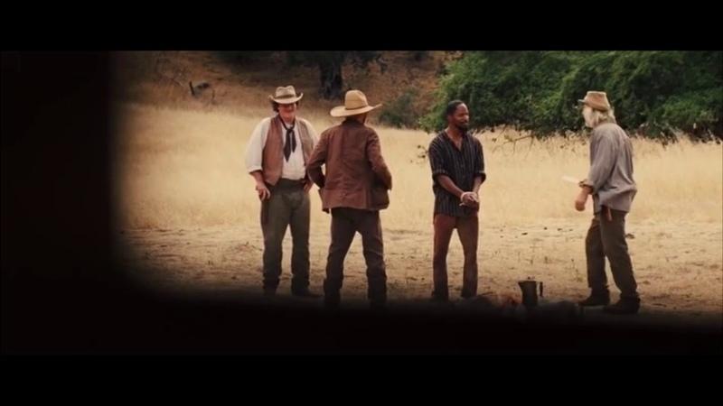 Момент из фильма Джанго освобождённый Побег Джанго Тарантино разносит себя в клочья