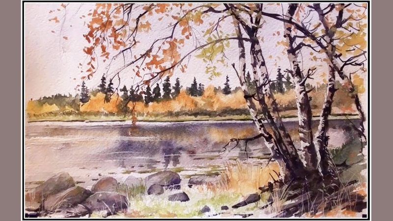 Watercolor Realism Trees on the seashore Outdoors painting