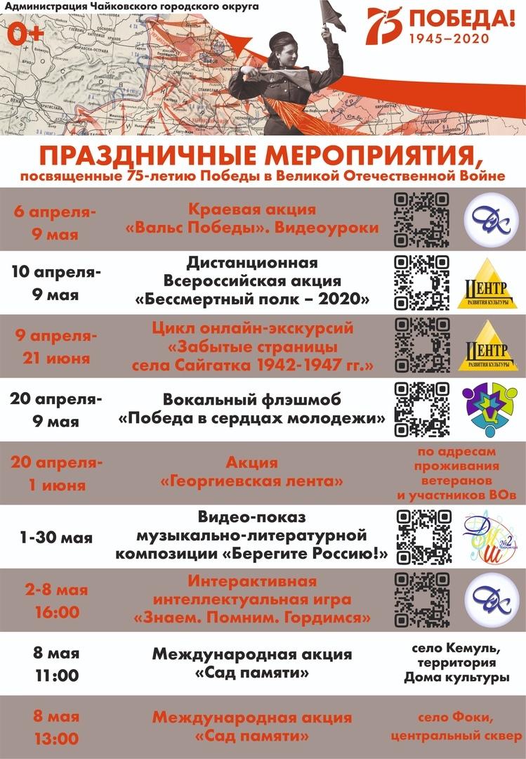 программа Дня Победы, чайковский район, 2020 год
