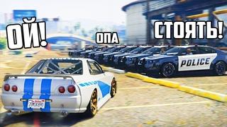 GTA 5 COPS & ROBBERS - ВСЯ БАНДА ЮТУБА ГОНИТСЯ ЗА МНОЙ! УЕЗЖАЮ НА МАШИНЕ ИЗ ФОРСАЖА ОТ 9 КОПОВ!