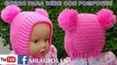 Gorro para Bebe a crochet con dos pompones Fácil de tejer en medio punto y punto elástico