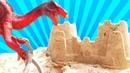O ataque dos dinossauros! Brincadeira infantil educativa no meu tanque de areia