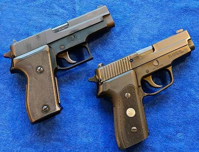 Пистолеты SIG-Sauer P225 (слева) и P225-A1