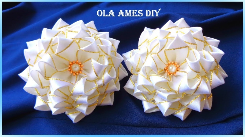 ❤️️Посмотрите какие Пышные ЦВЕТЫ БАНТЫ 10 см из лент❤️️ Канзаши Ribbon Flowers Flor de fita Ola ameS