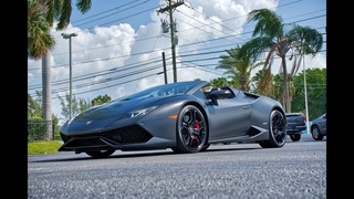 Lamborghini Huracan Spyder Angry Black Bull - Sound Interior Exterior - Drive at Lamborghini Miami