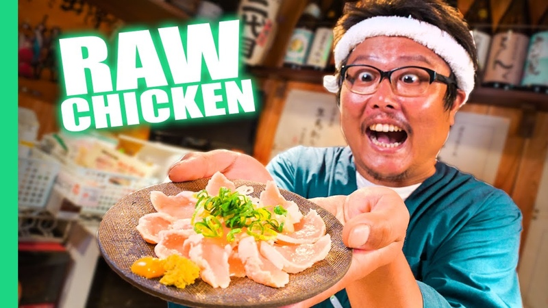 Eating RAW Chicken Sashimi Japan's DANGEROUS Raw Food Culture!!