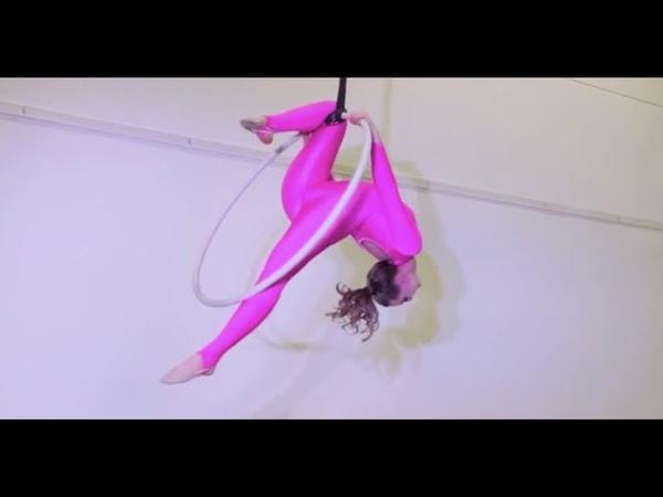Aerial Lyrahoop Performance in Pink Tight Spandex Catsuit