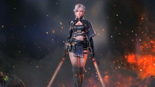 Cyberpunk-girl-with-two-lightsaber. Video wallpaper.