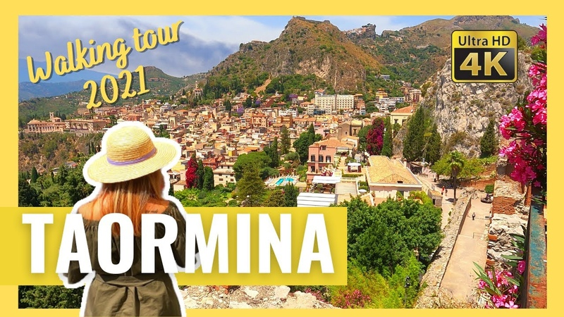TAORMINA Sicily Italy WALKING TOUR in 4k 2021 Greek Theater with CAPTIONS
