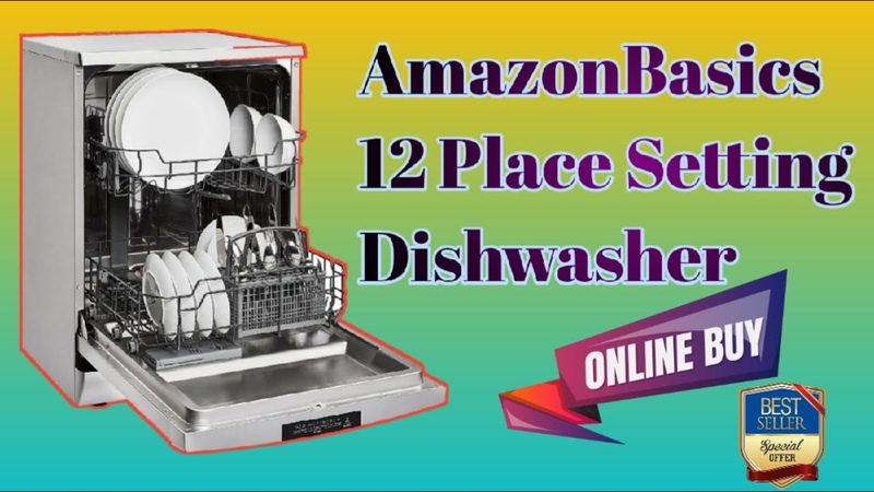 AmazonBasics 12 Place Setting Dishwasher Silver Rapid Intense Wash for Heavily Soiled Utensils