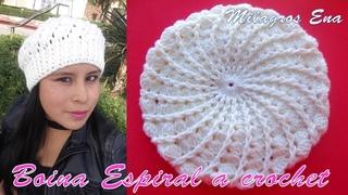 Boina a crochet en punto Espiral y relieves paso a paso en video tutorial