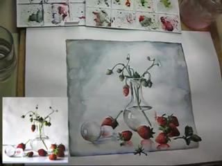Уроки акварель, bottle, glass, watercolor painting графинчик с клубникой. Мила Наумова