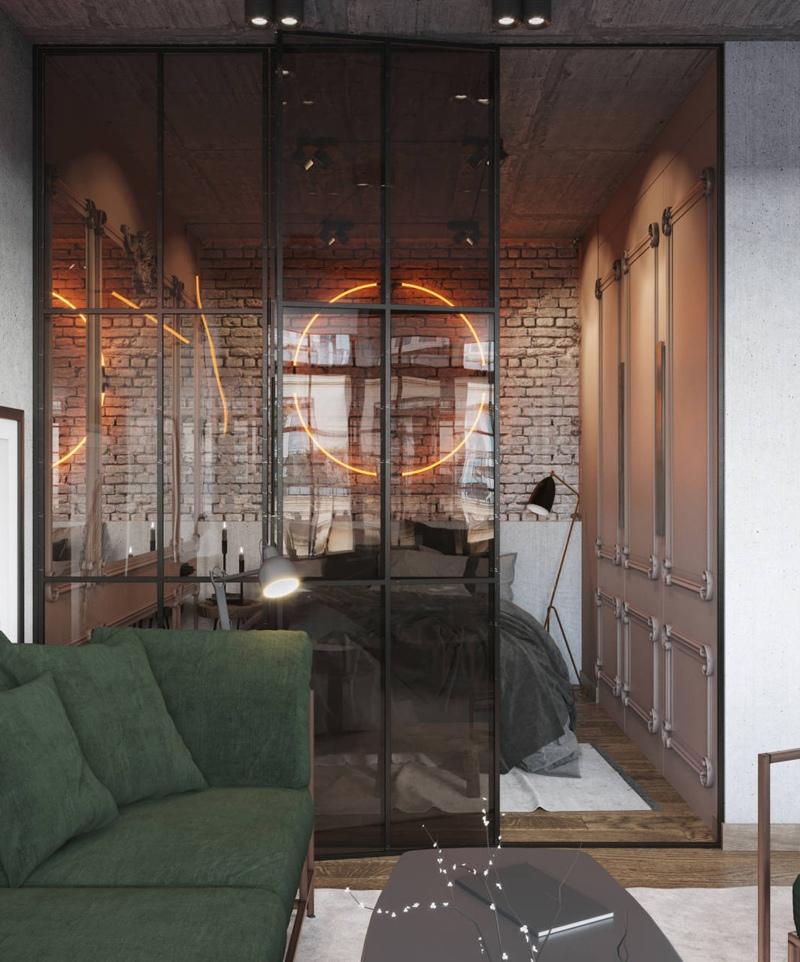 Проект квартиры 29 м в стиле лофт.