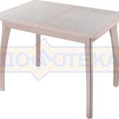 Стол кухонный Каппа ПР ВП МД 07 ВП МД пл 42, молочный дуб, бежевая плитка с сакурой