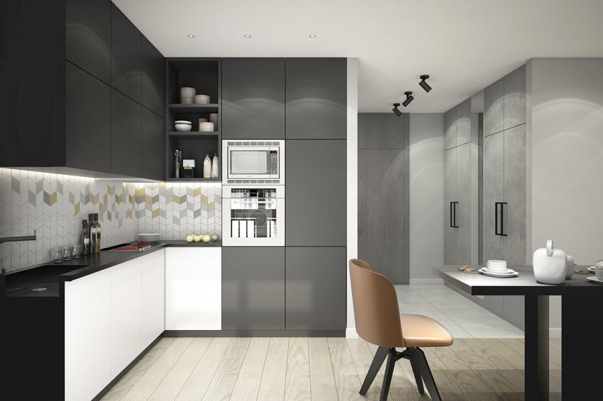 Проект квартиры-студии 31-34 м (по разным источникам) для студента в Москве.