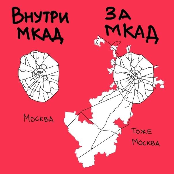 Интересный факт: площадь Москвы за пределами МКАДа...