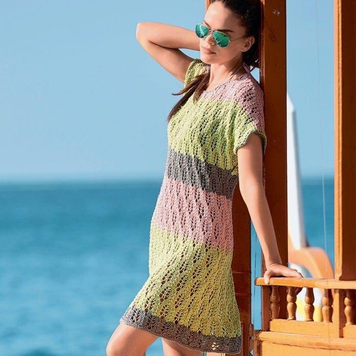 Летнее платье с ажурным узором из Листьев