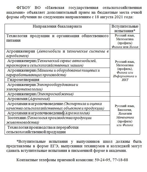 ФГБОУ ВО «Ижевская государственная сельскохозяйственная акад