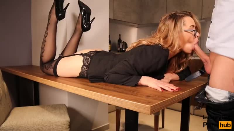 Kristina Sweet Sexy Secretary Fucked On The Table Blowjob Sex in Stocking fetish boobs cumshot