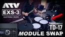 Roland TD-17 sound module swap on ATV EXS-3 electronic drums