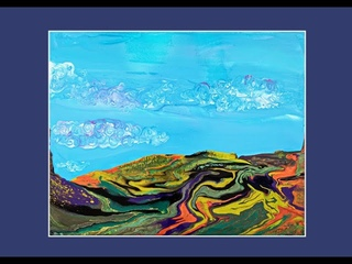 Bright Blue Sky Fluffy Clouds Mountain w Trees Landscape Fluid Acrylic Poured Art #7184
