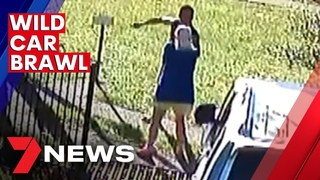 Neighbourhood brawl erupts in West Kempsey after man allegedly runs over two others | 7NEWS