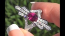 Unheated Ruby Diamond Ring 18k White Gold HGT Certified Purplish Red 2.71 TCW - C1179