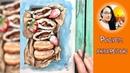 Рисуем шоколадные пончики с клубникой акварелью!Dari_Art