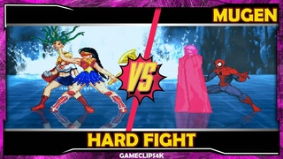 Wonder Woman and Supergirl Vs Emma Frost and SpiderMan [Hard Fight] MUGEN CHAR