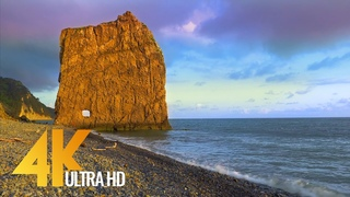 4K Beautiful Sunset over Black Sea, Krasnodar Region - Nature Relax Video with Soothing Waves Sound