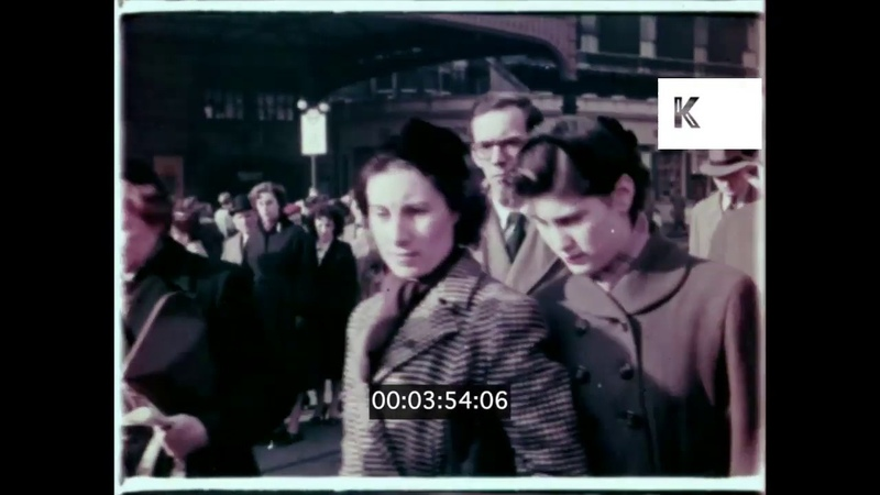 1940s 1950s UK Early Morning in London Commuters Rush Hour 16mm